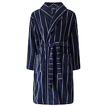 Buy John Lewis Stripe Velour Cotton Robe, Navy Online at johnlewis.com