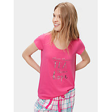 Buy Joules Anna Jersey Pyjama T-Shirt, True Pink Online at johnlewis.com