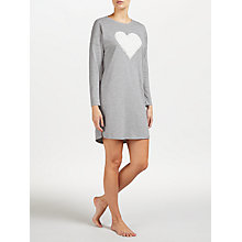 Buy John Lewis Fluffy Heart Jersey Nightdress, Grey Online at johnlewis.com
