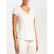 Buy John Lewis Short Sleeve Henley Pyjama Top, Ivory Online at johnlewis.com