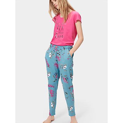 Joules Erica Jersey Pyjama Bottoms, Soft Teal Hedgerow
