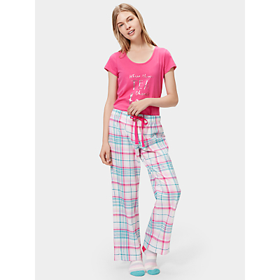 Joules Fleur Checked Flannel Pyjama Bottoms, Cream/Multi