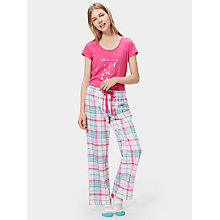 Buy Joules Fleur Checked Flannel Pyjama Bottoms, Cream/Multi Online at johnlewis.com