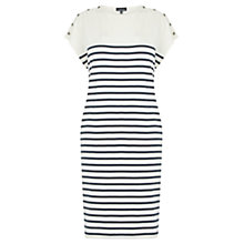 Buy Warehouse Stripe Button Cotton Dress, White/Blue Online at johnlewis.com