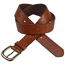 Buy Fat Face Embossed Tile Leather Belt, Tan Online at johnlewis.com