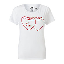 Buy Levi's The Perfect 'Me & You' Logo T-Shirt, White Online at johnlewis.com