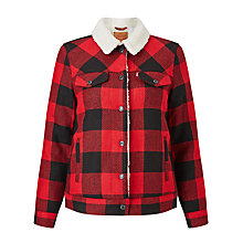 Buy Levi's Check Sherpa Trucker Jacket, Cherry Bomb Plaid Online at johnlewis.com