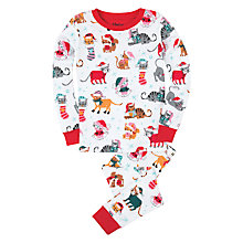 Buy Hatley Girls' Vintage Holiday Cats Pyjama, White Online at johnlewis.com