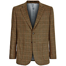 Buy Jaeger Silk Check Classic Fit Blazer, Brown Online at johnlewis.com