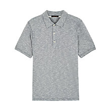 Buy Jaeger Cotton Feeder Stripe Polo Shirt, White/Navy Online at johnlewis.com