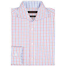Buy Jaeger Contrast Gingham Slim Fit Shirt, Pink Online at johnlewis.com