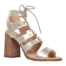Buy Carvela Kandice Block Heeled Lace Up Sandals, Gold Leather Online at johnlewis.com