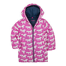 Buy Hatley Girls' Fairy Tale Horses Reversible Puffer Jacket, Pink/Navy Online at johnlewis.com
