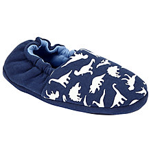 Buy John Lewis Children's Dinosaur Glow In The Dark Slippers, Blue/White Online at johnlewis.com