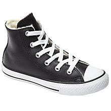 Buy Converse Children's Chuck Taylor All Star Faux Fur Lined Trainers, Black Online at johnlewis.com