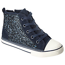 Buy John Lewis Children's Lulu Glitter Lace Trainers, Navy/Glitter Online at johnlewis.com