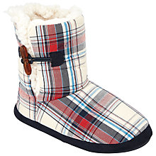 Buy John Lewis Children's Check Boot Slippers, Navy/Cream Online at johnlewis.com