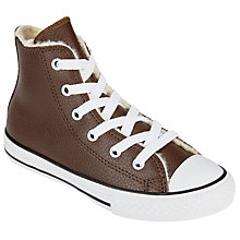 Buy Converse Children's Chuck Taylor All Star Leather Faux Fur Lace Shoes, Brown Online at johnlewis.com