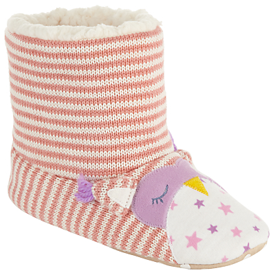 John Lewis Children's Owl Boot Slippers, Pink/Cream
