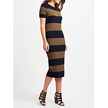 Buy Weekend MaxMara Addi Knitted Stripe Dress, Tobacco/Navy Online at johnlewis.com