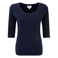 Buy Pure Collection Bella Cashmere Button Shoulder Sweater, Navy Online at johnlewis.com