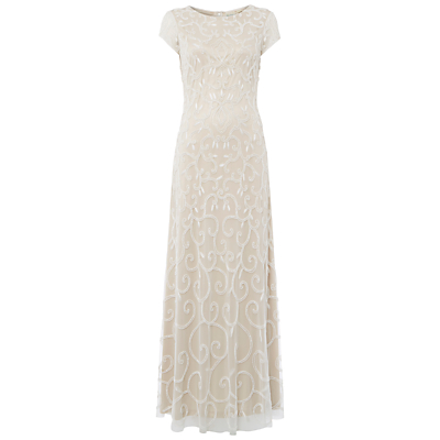 Raishma Beaded Gown, Nude/White