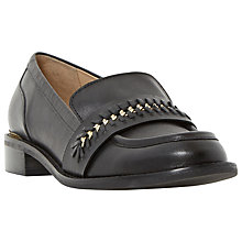 Buy Dune Gerard Block Heel Loafers, Black Leather Online at johnlewis.com