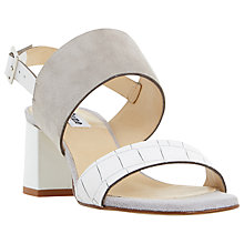 Buy Dune Jester Block Heeled Sandals, Grey/White Online at johnlewis.com