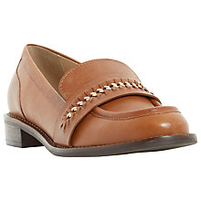 Buy Dune Gerard Block Heeled Loafers, Dark Tan Online at johnlewis.com