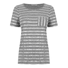 Buy Oasis Metallic Stripe T-Shirt, Mid Grey Online at johnlewis.com