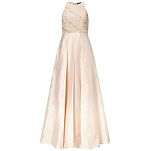 Buy Adrianna Papell Halter Neck Gown With Taffeta Skirt, Champagne Online at johnlewis.com