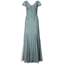 Buy Adrianna Papell Cap Sleeve V-Neck Beaded Gown, Slate Online at johnlewis.com
