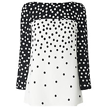 Buy L.K. Bennett Gina Spot Panel Top, Black/Cream Online at johnlewis.com