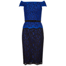 Buy Adrianna Papell Bi-Colour Lace Wrap Peplum Dress, Cobalt/Black Online at johnlewis.com