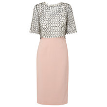Buy L.K. Bennett Ianna Lace Panelled Pencil Dress, Pink Online at johnlewis.com
