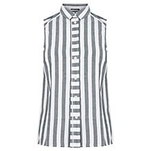 Buy Warehouse Stripe Sleeveless Cotton Shirt, Blue/White Online at johnlewis.com