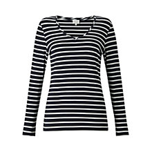 Buy East V Neck Jersey Stripe Top, Ink Online at johnlewis.com
