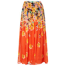 Buy L.K. Bennett Silk Thea Printed Skirt, Vermillion Online at johnlewis.com