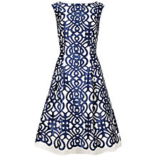 Buy Aidan Mattox Satin Laser Cut Embroidery Dress, Navy/Ivory Online at johnlewis.com