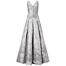 Buy Aidan Mattox Sleeveless V-Neck Metallic Jacquard Ballgown, Silver Online at johnlewis.com