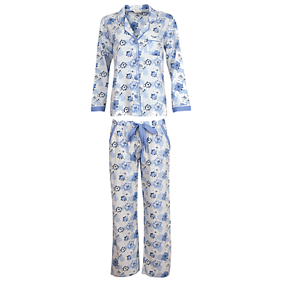 Cyberjammies Porcelain Doll Floral Pyjama Set, Blue/Multi