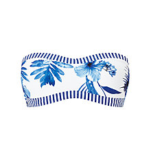 Buy Seafolly Tropic Coast Bandeau Bustier Bikini Top, White/Blue Online at johnlewis.com