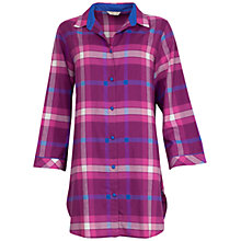 Buy Cyberjammies Lightly Brushed Check Nightshirt, Magenta Online at johnlewis.com