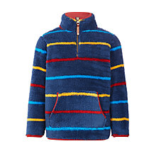 Buy John Lewis Boys' Multi Stripe Half Zip Coral Fleece, Navy/Multi Online at johnlewis.com