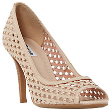 Buy Dune Claudette Woven Peep Toe Court Shoes, Nude Online at johnlewis.com