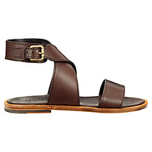 Buy Jigsaw Rosy Cross Strap Sandals, Chocolate Online at johnlewis.com