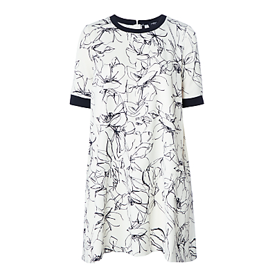 Marella Arten Printed Crepe Satin Dress, Wool White
