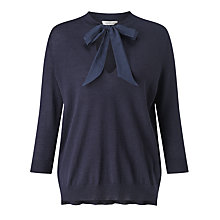 Buy Marella Badia Silk Tie Front Jumper, Navy Online at johnlewis.com