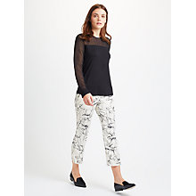 Buy Marella Sigma Printed Cropped Trousers, Wool White Online at johnlewis.com
