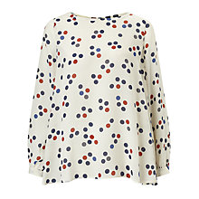 Buy Marella Rio Spot Print Silk Blouse, White Online at johnlewis.com